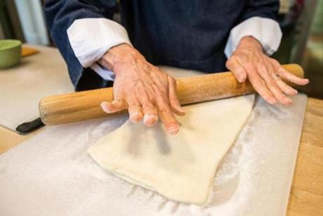 Working and folding the dough.